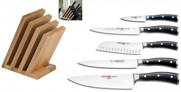 Arte Ikon: Wood Art Block complete with 5 Ikon Series Knives by Wusthof