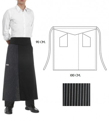 Apron Cook Double 90 x 100 cm. Black and Pinstripe color