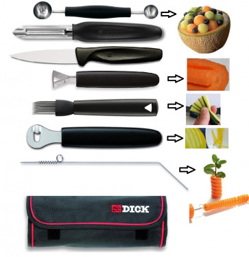 DECORATE:Foldable roll containing 7 accessories to decorate dishes