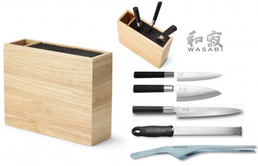Block ORIENT : block containing 3 Knives Kai Wasabi Black + accessories