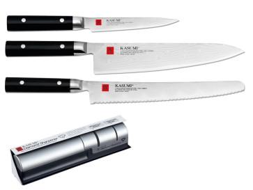 Trio of Kasumi damascene knives and sharpener