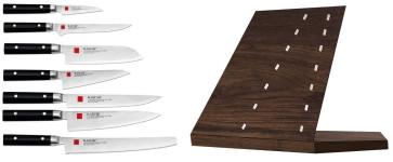 Vela: knife block in Walnut wood with 7 Japanese Kasumi damascus knives