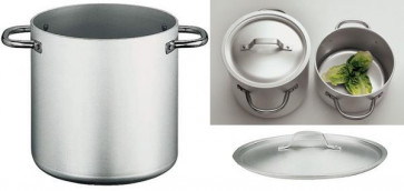 Stew-pan with cover in crudaluminium D. 24