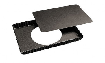 Festoned rectangular baking-pan with mobile non-stick bottom