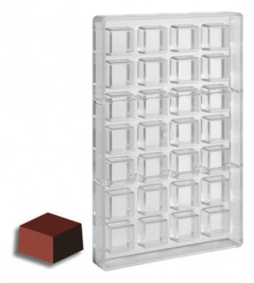 Mould for chocolate polycarbonate: Square Praline