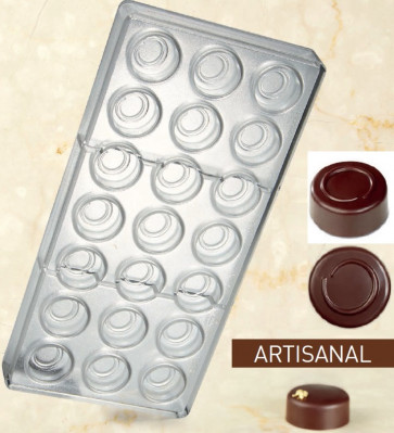 Artisanal Pralines mould for chocolate Round Line