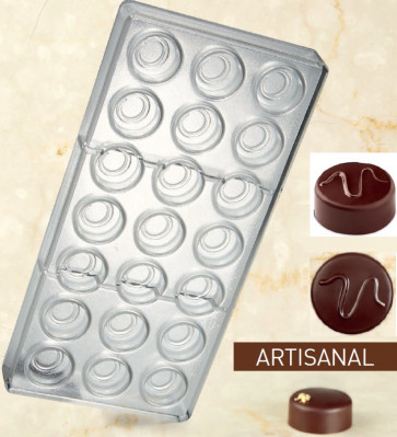 Artisanal Pralines mould for chocolate Round Wave