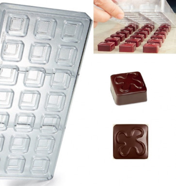 Artisanal Pralines mould for chocolate Square Fantasy