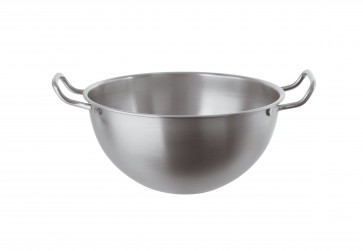 Stainless steel semi-spheric Basin with handles stainless steel 22 cm.