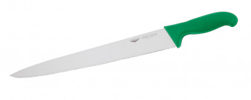 Slicing Knife 30 cm. Toothed-edge HACCP green handle