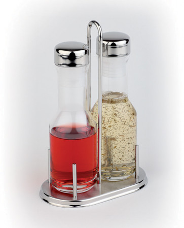 Set oil dispenser 2 pieces, glass and stainless steel