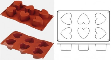Food silicone mould 6 Hearts
