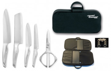 Case with Global SAI knives and Global scissors