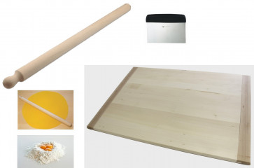 Perfect Pasta-maler: Pastry board in lime-wood + Rolling-pin in beech + cutter for fresh pasta