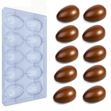 Polycarbonate mold 10 small eggs 35 grams