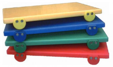 Set of 4 polyethylene trenchers coloured with stops cm. 40 x 30