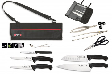 Atlantic Chef case complete with 5 professional kitchen knives + 2 pliers + Alma Test + Scissors