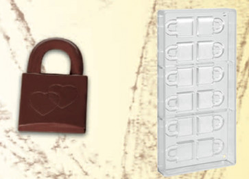Polycarbonate mould for chocolates Padlock