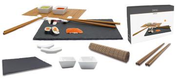 Sushi Set: Piatto in ardesia, bacchette con supporto, stuoia bambù, ciotole salsa,