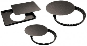 Set of baking-pans for cakes non-stick festooned mobile bottom