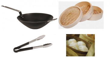Vapour cooking: Wok, bamboo basket and pliers