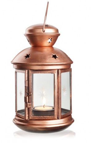 Candle-holder lanterns centerpiece white and copper