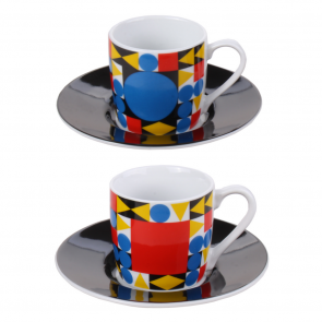 Assorted coffee cups and saucers, 4 pieces, design: Bauhaus by Typoly