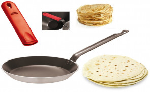 Aluminum frying pan for piadina, crèpes and crespelle D. 30 cm. + Silicone cover