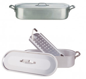 Aluminium fish-pan with grid and lid