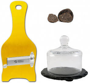 Gold Set: Golden stainless steel truffle slicer and Glass and slate truffle holder