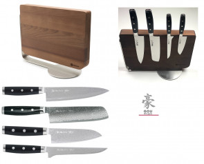 Magnetic block complete with 4 Damascus GOU 101 Knives by Yaxell