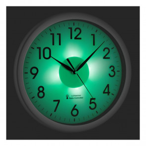Analogue radio-controlled Silver wall clock with backlight