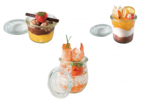 Set of 12 glass jars with lid