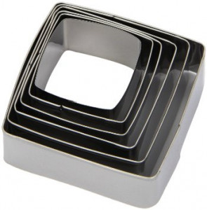 6 Paste-cutters Square- shaped stainless steel Paderno