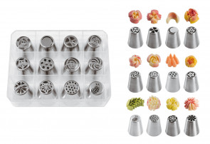Russian Floral Bozzles: Set of 12 assorted floral nozzles in stainless steel