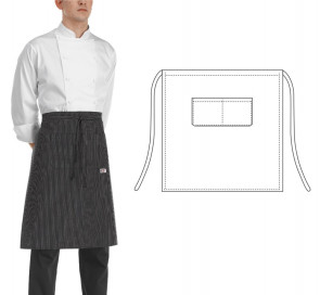 Apron SIR for chef 70 x 70 cm. Black color with thin white stripes