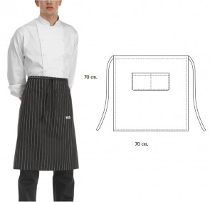 Apron AMERICA for chef 70 x 70 cm. Black color with white stripes
