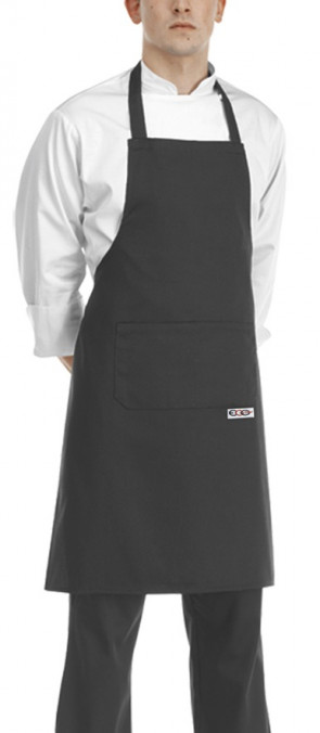Apron with bib BLACK Microfiber