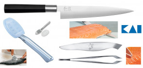 Set Kai thread the fish: Flexible knife + Fishbone tweezers + Scale remover