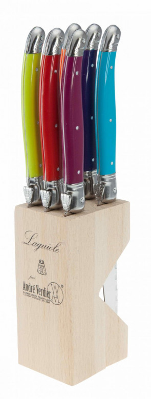 Block of 6 Laguiole steak knives by André Verdier Wild Flowers