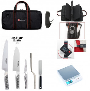 Case UP-To-Date complete with 3 Global Knives, Scale, Timer and Accessories