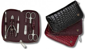 Manicure Set LadyLine Large in real leather with zipper and nickeled accessories