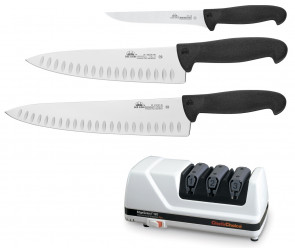 Cut and Sharpen: Set of 3 knives in the kitchen and Chef's Choice professional sharpener