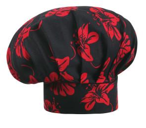 Cappello da cuoco FIORE IBISCO nero e rosso