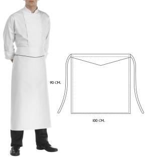 Apron Cook Princes 90 x 100 cm. White color Black finish