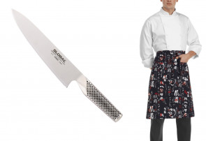Mr. Global First: Chef Knife cm. 18 of Global + Japanese apron