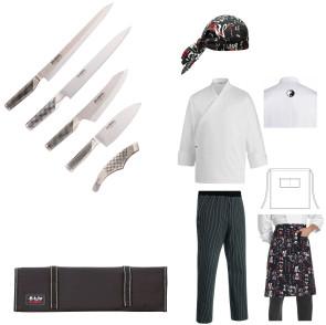 Valigetta Global Sushi Chef: Coltelli, pinza, abbigliamento da Cuoco