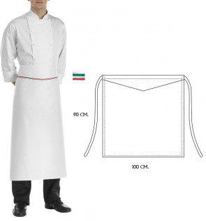 Apron Cook Princes Italy 90 x 100 cm. White color Red and Green finish