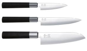 Set 3 coltelli da cucina Serie Kai Wasabi Black