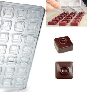 Stampo in policarbonato per cioccolato Quadrato Punto